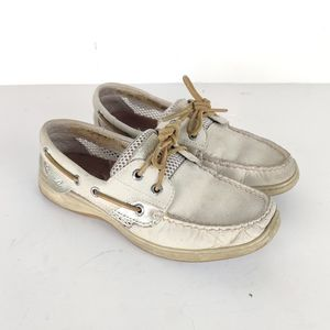 Sperry Top Sider Boat Shoes 6 Cream Gold Leather
